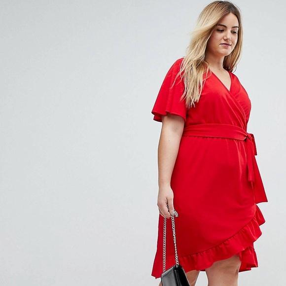 4a3a4d31aaa ASOS Curve Dresses   Skirts - ASOS Red Wrap Dress